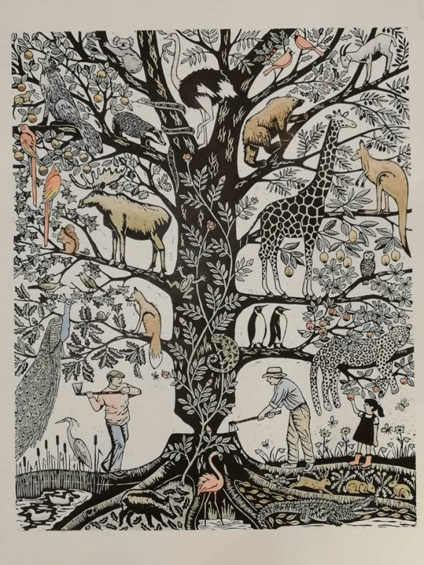 6th Mass Extinction woodcut print by Nat Morley (2019)